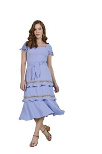 Vestido midi com efeito peplum detalhes de guipir em mix de texturas Lavanda 300126 Fascínius