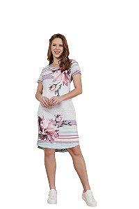 Vestido em crepe com elastano estampa geométrica e floral 3.00198 Fascínius