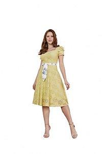 Vestido evasê Primavera em renda desenhos geométricos Amarelo Lima Fascínius 3.00239