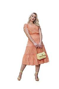 Vestido mix de lasie com entremeios em guipir modelagem em linha A Fascínius 3.00220