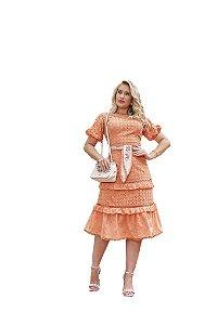 Vestido laise decote redondo com entremeios de guipir Fascínius 3.00230