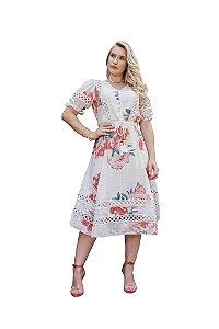 Vestido em crepe texturizado estampa floral exclusiva decote em v Fascínius 3.00374