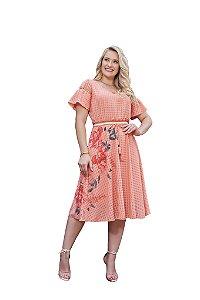 Vestido em crepe texturizado mangas com recortes e guipir estampa floral Fascínius 3.00382