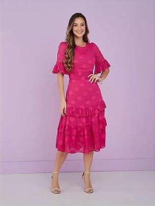 Vestido Chiffon poá texturizado Peonia Pink 9002 Tatá Martello