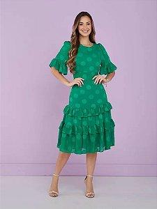 Vestido Chiffon poá texturizado Peonia Verde 9002 Tatá Martello