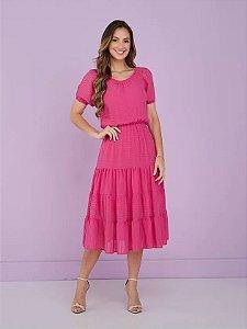 Vestido viscolinho enrugado com trama Flor Hibisco Pink 9058 Tatá Martello