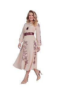 Vestido em crepe com bordado industrial Fascínius 15745