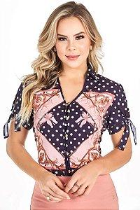 Camisa Manga com fenda e amarração 71486 Via Tolentino Moda Evangélica