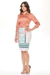 Conjunto Com Camisa de Cetim Coral e Saia Estampada Via Tolentino 30815 - Moda Evangélica
