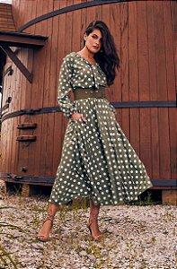 Vestido Amelia C/ CINTO V50756 Jany Pim - Moda Evangélica