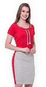 Vestido Débora 60383 Vermelho - Moda Evangélica