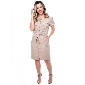 Vestido em linho modelagem solta 3602 Expressão Moda Evangélica