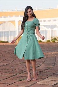 Vestido em Linho 50563 Verde - Moda Evangélica