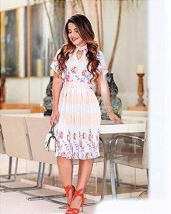 Vestido Floral Jany Pim - Moda Evangélica