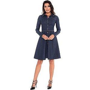 Vestido Jeans Bordado 110468 Moda Evangélica