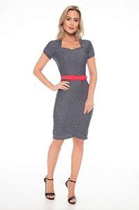 Vestido Via Tolentino Jeans Recorte Moda Evangélica 110516