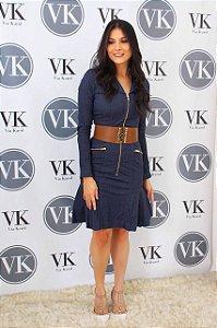 Vestido Detalhe de Pregas Jeans Via Tolentino 110500 - Moda Evangélica