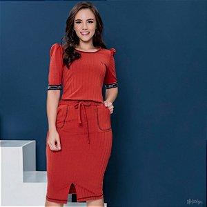 Vestido de Malha Canelada 50471 Hadaza - Moda Evangélica