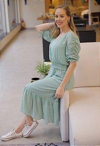 Vestido Leila 14789 Verde Fascinius - Moda Evangélica