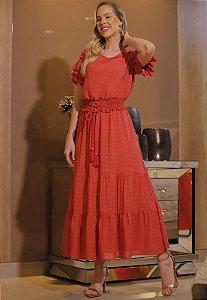 Vestido Luanna 14794 Coral Fascinius - Moda Evangélica
