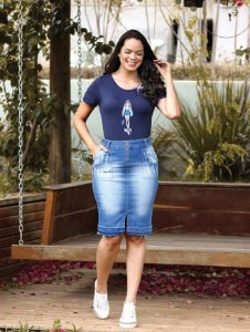 Saia Jeans 10353 Sorenzza - Moda Evangélica