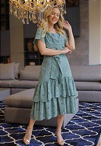 Vestido Brenda 14889 Verde Escuro Fascinius - Moda Evangélica