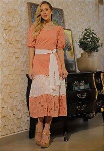 Vestido Ivanna 14741 Laranja Fascinius - Moda Evangélica
