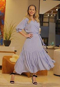 Vestido Jocelyn 14756 Azul Fascinius - Moda Evangélica