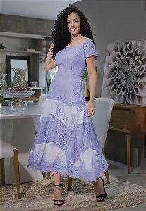 Vestido Detalhes em Renda Azul 15020 Fascinius - Moda Evangélica