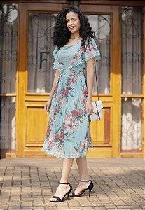 Vestido Tela Estampada no Floral 14879 Fascinius - Moda Evangélica
