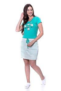 Pijama Blusa com Saia Shorts Rita Verde Água 049164 Hapuk - Moda Evangélica