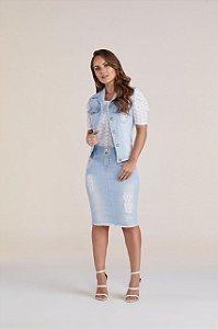 Conjunto de Colete e Saia Jeans Clara Titanium - Moda Evangélica
