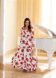 Vestido Longo com Estampa Floral 4895 Titanium - Moda Evangélica