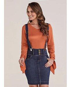 Saia Jeans Tradicional 3 Cós com Suspensório Removível Titanium 4860 - Moda Evangélica