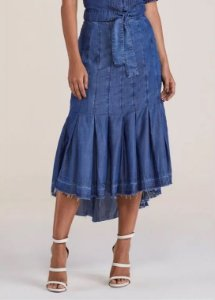 Saia Evasê Jeans Titanium 4998 - Moda Evangélica