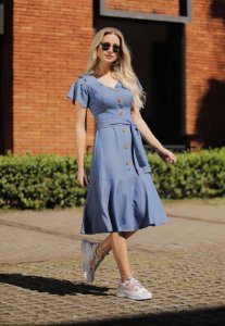 Vestido Fascinius Pamela Jeans Escuro 15245 - Moda Evangélica