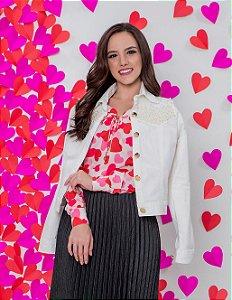 Jaqueta em Jeans PT Off-white com Bordado em Pérolas Hadaza 18059 - Moda Evangélica