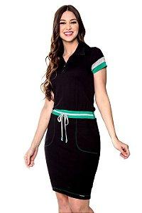 Vestido Verde de Malha com Detalhe de Zíper na Gola Carina 60562 Hapuk - Moda Evangélica