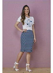 Conjunto de Malha com t-shirt e saia listrada 7097 Tatá Martello Tifany - Moda Evangélica