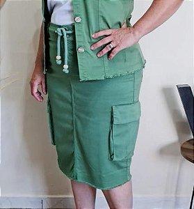 Saia com Bolsos Laterias e Amarração Frontal 10376 Verde Sorenzza - Moda Evangélica