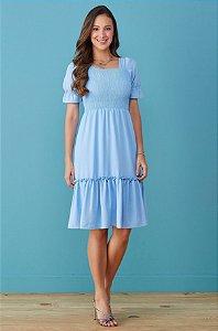 Vestido Tata Martello Joelma Azul 7016 - Moda Evangélica