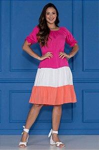 Vestido Tatá Martello Vera Rosa 7182 - Moda Evangélica