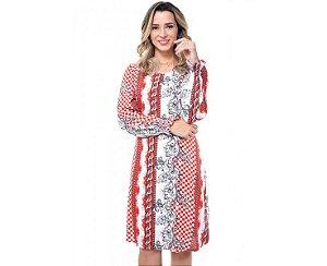 Vestido em Viscose Vermelha com Manga Longa 3540 Expressão - Moda Evangélica