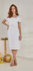 Vestido Fascinius Daisy Branco 15171 Moda Evangélica