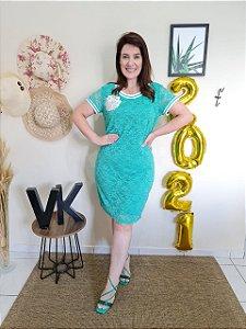 Vestido Fascíniu's Karen Verde 15460 Moda Evangélica