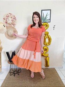 Vestido Jordana Laranja Montaria 8766  - Moda Evangélica
