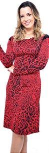 Vestido Animal Print Vermelho Expressão 3523