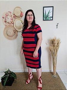 Vestido Justo Listrado Vermelho e Azul Marinho 9010 - Olga Lima