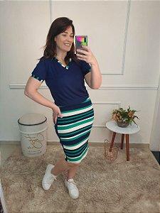 Vestido Justo em Azul Marinho 9012 - Olga Lima