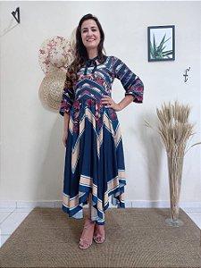 Vestido Azul Marinho Com Pontas e Mix de Estampa 50453 Jany Pim